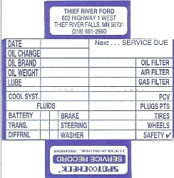 personalized service record cards automotive tags reminders