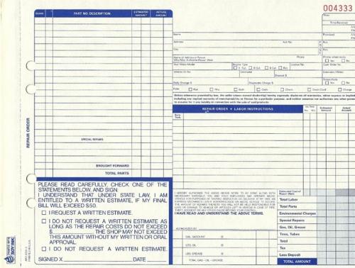 auto repair form template