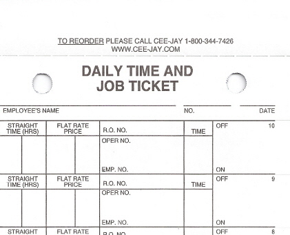 Daily Time And Job Tickets Automotive Repair Shop
